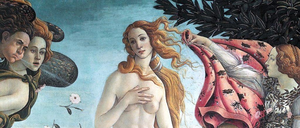 """Dzieła sztuki we Florencji - fragment obrazu """"Narodziny Wenus"""""""