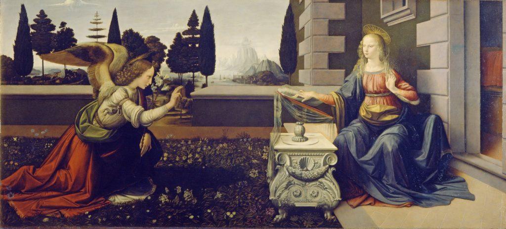 """Dzieła sztuki weFlorencji - obraz Leonarda da Vincii """"Zwiastowanie"""""""