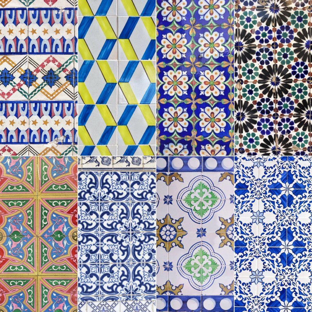 Lizbona - azulejos czyli płytki ceramiczne zdobiące fasady budynków mają najróżniejsze kolory ikształty