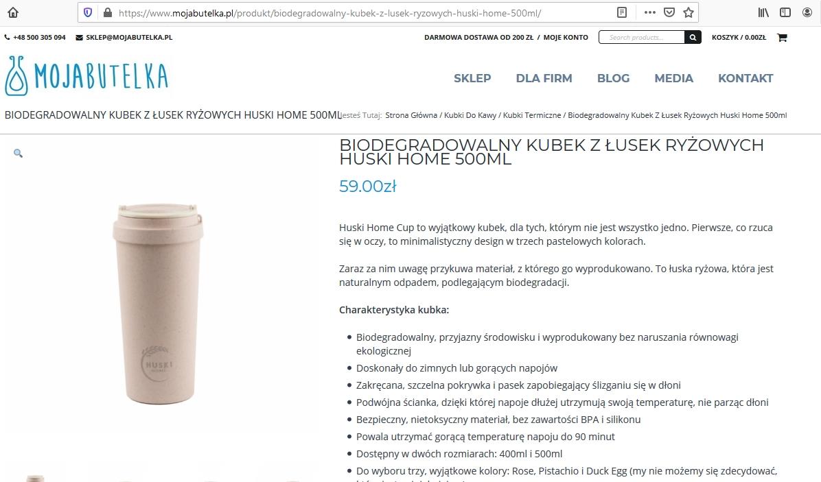 MojaButelka.pl: Biodegradowalny kubek